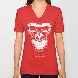 chimpanzee monkey can we save the world Unisex V-Neck