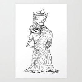 The King of Flesh (Black and White) Art Print
