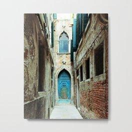 Venice Italy Turquoise Blue Door Metal Print