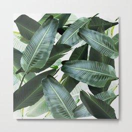 Tropical Palm leaf, banana leaf, greens, Hawaii, retro style Metal Print