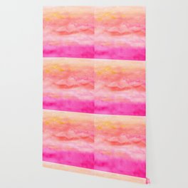 Bright pink orange sunset watercolor hand painted Wallpaper