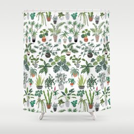 plants and pots pattern Shower Curtain