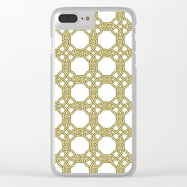 Gold & White Knotted Design Clear iPhone Case