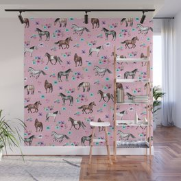 Horses & Flowers, Pink Pattern, Horse Illustration, Little Girls Room, Watercolor Wall Mural