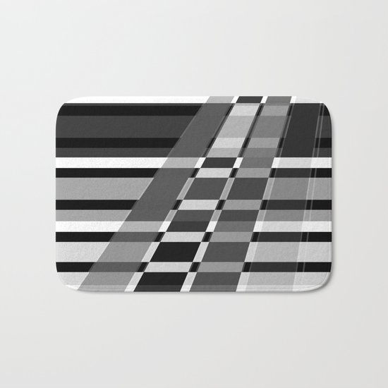 Black and white abstract pattern . The slant line 1. Bath Mat