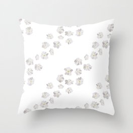 Diagonal flowers seamless repeating pattern small version, gray Throw Pillow