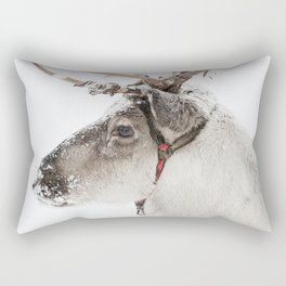Reindeer with antlers in snow Rectangular Pillow