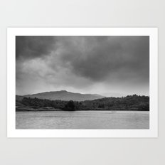 Rainclouds and rain over Rydal Water at dusk. Lake District, UK. Art Print