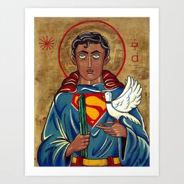 The Nature of Heroes-Icon of Superman after St. Francis.  Art Print