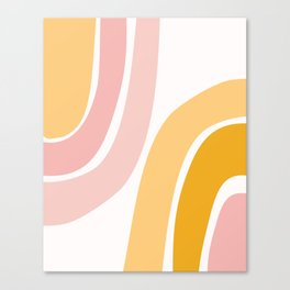 Abstract Shapes 37 in Mustard Yellow and Pale Pink Canvas Print