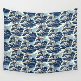 The Great Wave of Pug Pattern Wall Tapestry