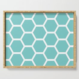 Aqua Honeycomb Serving Tray
