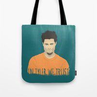 tyler durden Tote Bags featuring In Tyler we trust by Eveline