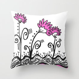 Three Spring Flowers - Pink Throw Pillow