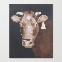 Gold Earring - Cow portrait Canvas Print