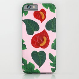 Anthurium Flowers and Banana Leaves iPhone Case