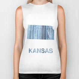 Kansas map outline Light steel blue nebulous watercolor paper Biker Tank
