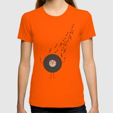 THEODORE THE VINYL Orange Womens Fitted Tee SMALL