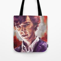 sherlock holmes Tote Bags featuring Sherlock Holmes by Alice X. Zhang