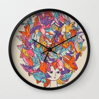 birdy Wall Clocks featuring Birdy by Julia Sonmi Heglund