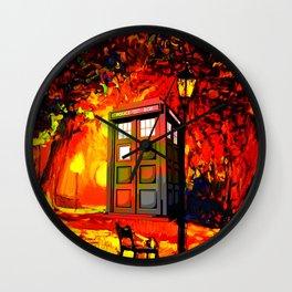 tardis starry nigh - oranye Wall Clock