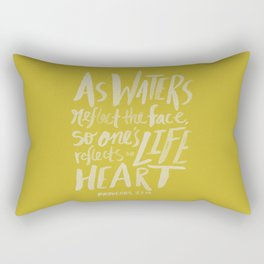 Proverbs 27: 19 x Mustard Rectangular Pillow