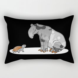 Tapir meets Turtle, Cute Animal Illustration, Black & White with Copper Metallic Accent Funny Turtle Rectangular Pillow
