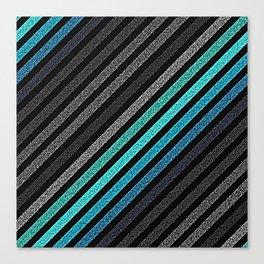 stripeS : Slate Gray Teal Blue Pixels Canvas Print