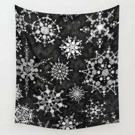 Gray Snowflakes Wall Tapestry