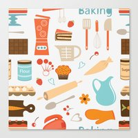 baking Canvas Prints featuring baking pattern by olillia