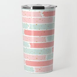 Pink & Green Geometric Gym Pattern Travel Mug