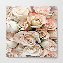 Delicate Peach Roses Metal Print