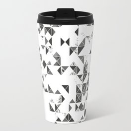 TRIANGLES B&W Geometric print Travel Mug