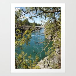 Beautiful Old Bridge Over The Spokane River, Trees, Water, Bridge Art Print