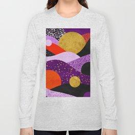 Terrazzo galaxy purple orange gold Long Sleeve T-shirt