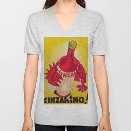 Vintage Cinzano Aperitif Cinzanonino Advertising Poster Unisex V-Neck