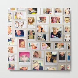 Miley Selfie Polaroid Collage Metal Print