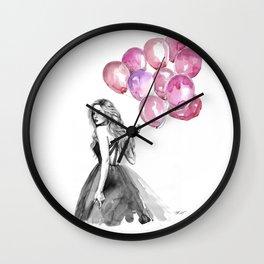 Balloons Pink Wall Clock
