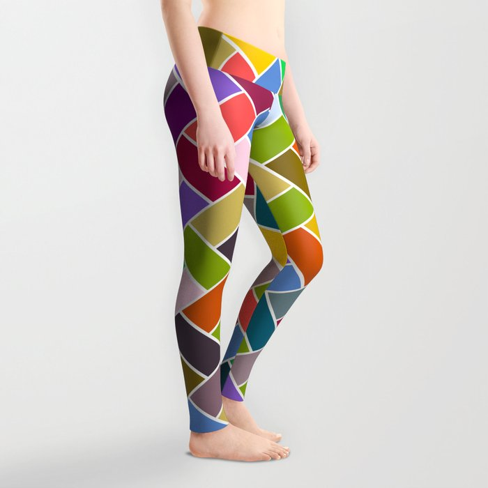 Colourful Tiled Mosaic Pattern Leggings
