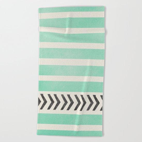 MINT STRIPES AND ARROWS Beach Towel