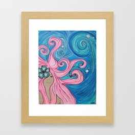 Pink Kahuna Beach Surfer Girl Framed Art Print