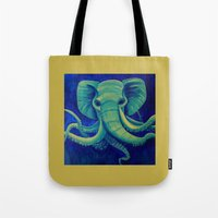 cthulu Tote Bags featuring Octophant by Minxi