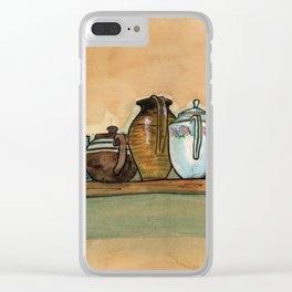 tea pots on the shelf Clear iPhone Case