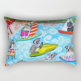 Dogs at the Beach Rectangular Pillow