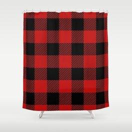 Western Country Woodland Christmas Cottage Primitive lumberjack Buffalo Plaid Shower Curtain