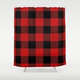 Western Country Woodland Christmas Cottage Primitive lumberjack Buffalo Plaid Shower Curtain