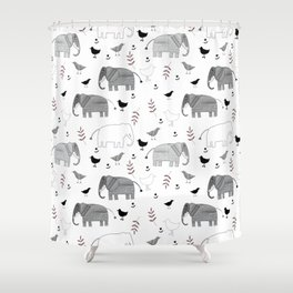 Pattern with funny elephants and birds. Shower Curtain