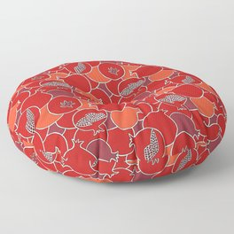 Pomegranate Harvest with Fruit and Seeds Floor Pillow