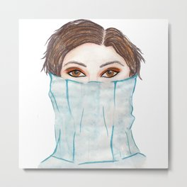 pencil and watercolour fashion art  Metal Print