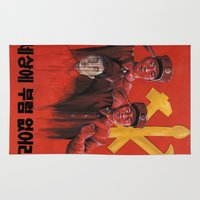 military Area & Throw Rugs featuring Military in North Korea by kaliwallace